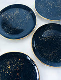 Made to Order: Salad Plates in Navy with Gold Splatters and Gold Rim (Set of Two)