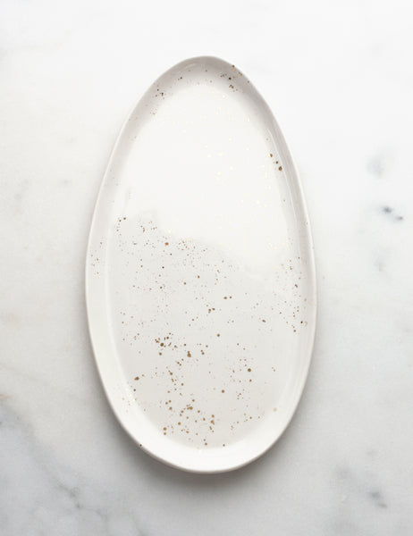 Oval Side Platter in White with Gold Splatters