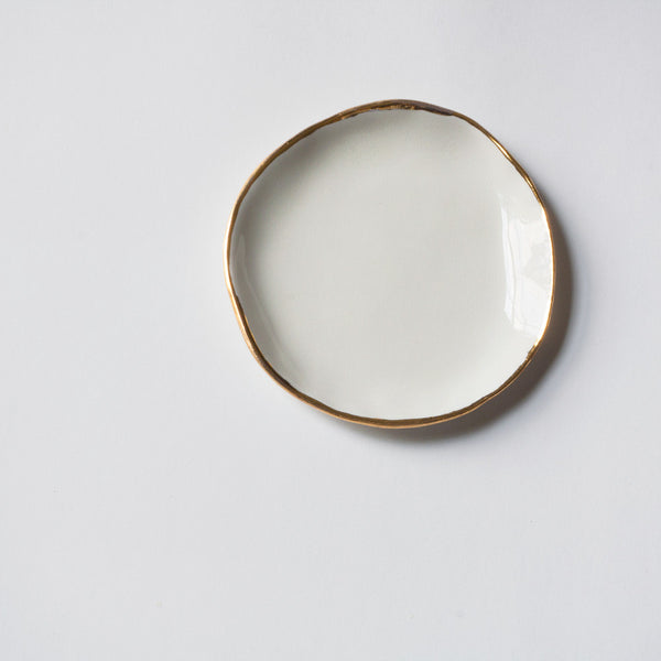 Seconds Ring Dish in White with Gold Rim