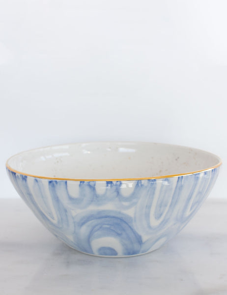 Painted Bowl Collection: Serving Bowl in Watercolor Blues with Gold #4