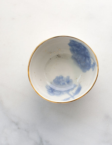 Painted Bowl Collection: Decorative Bowl in Watercolor Blues with Gold #5