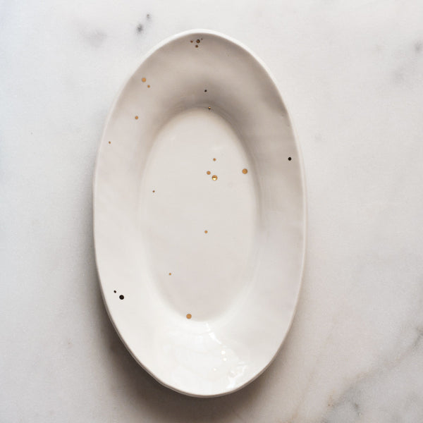 Oval Platter in Spotted Gold