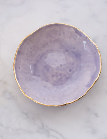 Hand-Built Serving Bowl in Dimpled Wisteria with Gold Rim