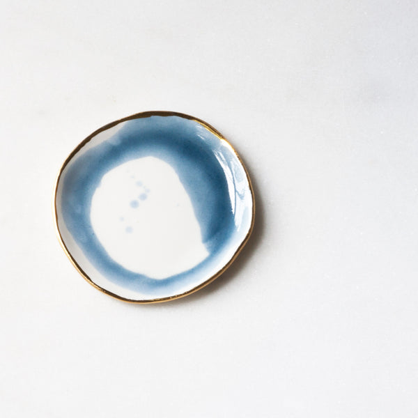 Ring Dish in Aegean Blue Swirl with Gold Rim