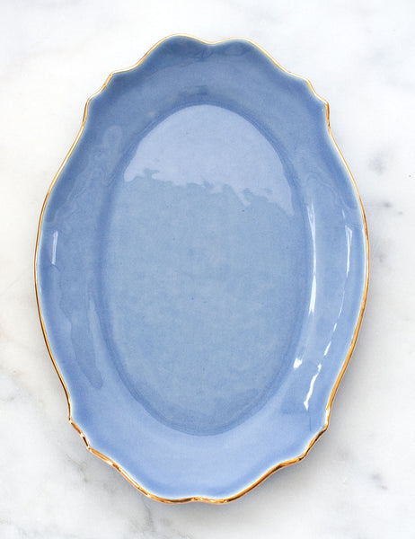 Limited Edition: Baroque Platter in French Blue with Gold Rim