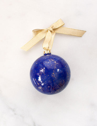 Bauble Ornament in Cobalt Watercolor with Gold Splatters