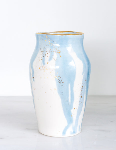 Fleur Vase in Watercolor Blue and Gold Splatters