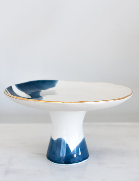 Artist Original: Cake Stand in White with Navy Watercolor and Gold Rim