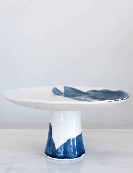 Artist Original: Cake Stand in White Navy Watercolor and Gold Splatters
