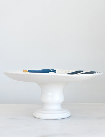 Artist Original: Cake Stand in White with Navy Watercolor and Gold Brushstrokes