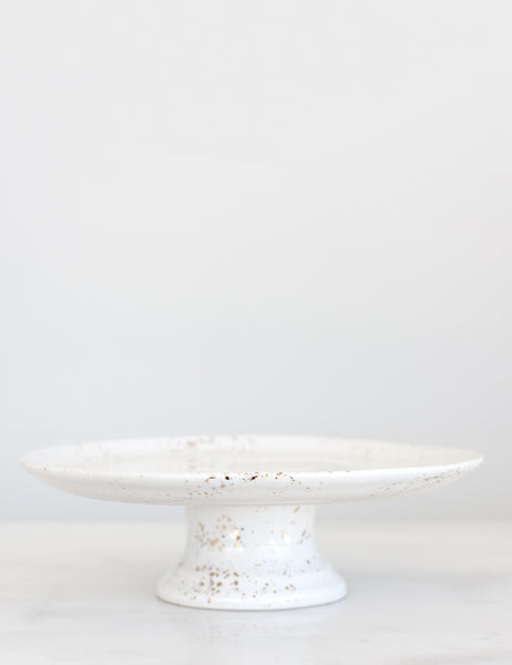 Artist Original: Cake Stand in White with Gold Splatters