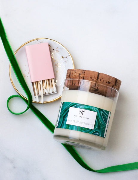 Gift Set: Wintery Memories Candle +Matches + Ring Dish