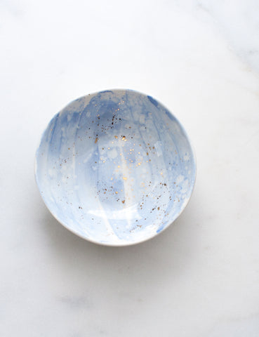 Bijou Bowl in Chambray Wash and Gold Splatters