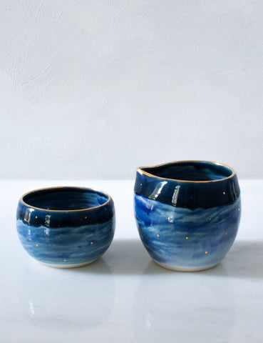 Cream and Sugar Set in Navy and Cobalt Dipped Set
