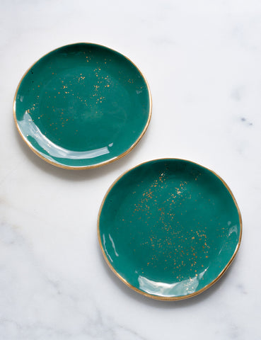 Dessert Plates in Agave with Gold Rim and Gold Splatters - Samples (Set of Two)