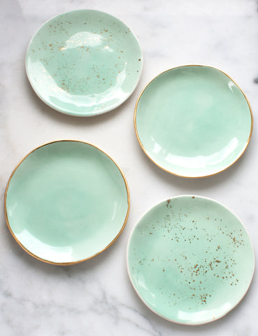 Dessert Plate Sample Set: Mint + Gold