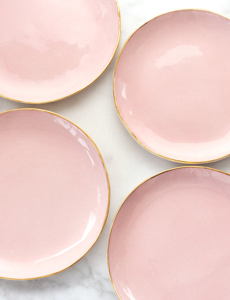 Dinner Plates in Rose with Gold Rim (Set of Four)
