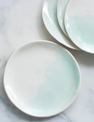 Pre-Order: Dinner Plates in Mint Watercolor Swirl (Set of Four)