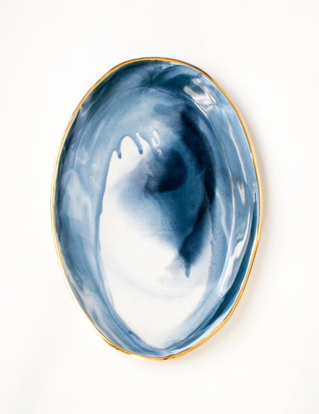 Ellipse Platter in Navy Marble with Gold Rim Vol. 9