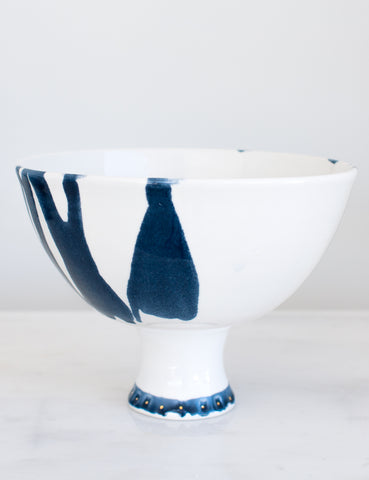 Artist Original: Pedestal Bowl in White with Navy Watercolor and Gold Studded Base