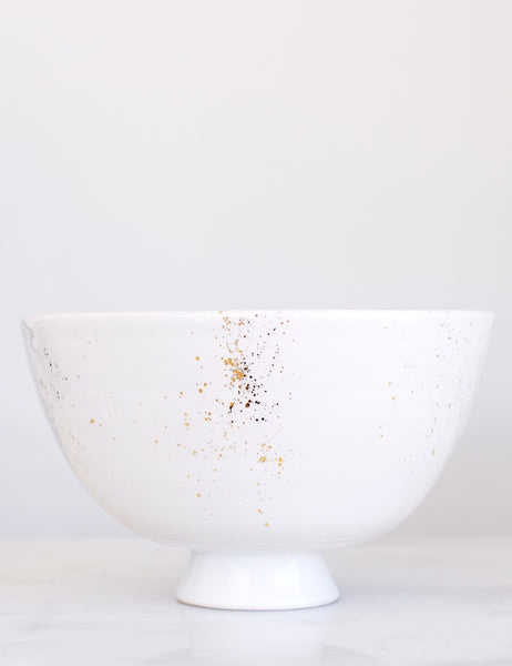Artist Original: Pedestal Bowl in White with Gold Splatters