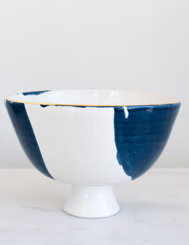 Artist Original: Pedestal Bowl in White and Navy Watercolor with Gold Rim