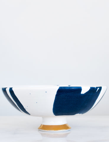 Artist Original: Pedestal Bowl in White and Navy Watercolor with Gold Brushstroke Base