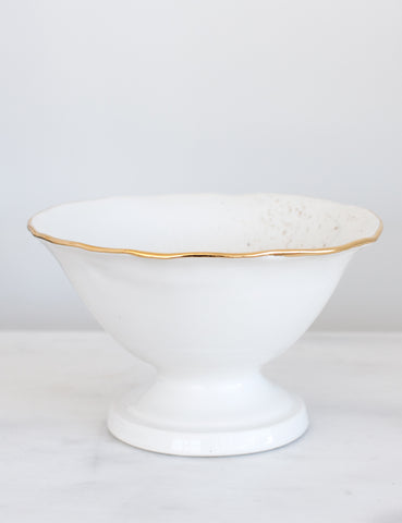 Artist Original: Pedestal Bowl in White and Gold Organic Rim