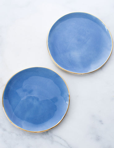 Limited Edition: Salad Plates in French Blue and Gold Rim (Set of Two)