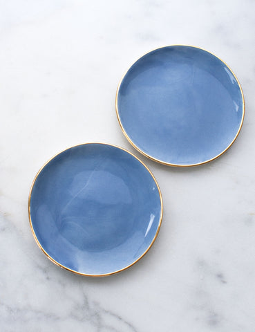 Limited Edition: Dessert Plates in French Blue with Gold Rim (Set of Two)