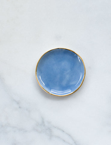 Limited Edition: Ring Dish in French Blue with Gold Rim