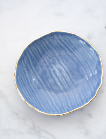 Hand-Built Serving Bowl in French Blue with Gold Rim