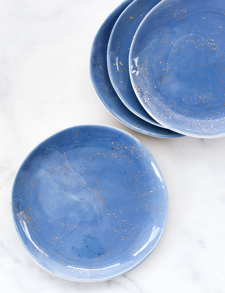 Made to Order: Dinner Plates in French Blue and Gold Splatters (Set of Four)