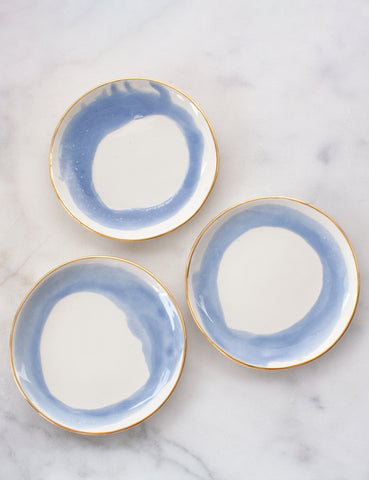 Dessert Plate Trio in French Blue Swirl with Gold Rim (set of three)