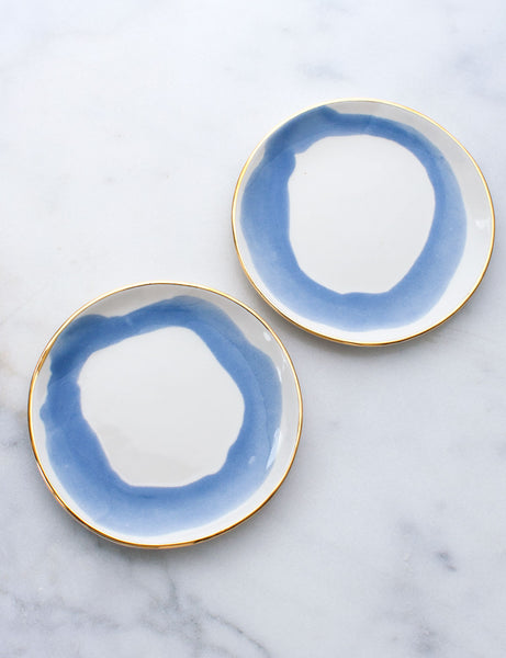 Limited Edition: Dessert Plates in Watercolor French Blue Swirl with Gold Rim (Set of Two)