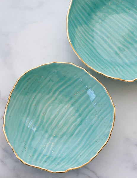 Nested Hand-Built Serving Bowls in Mint with Gold Rim and Gold Splatters (set of two)