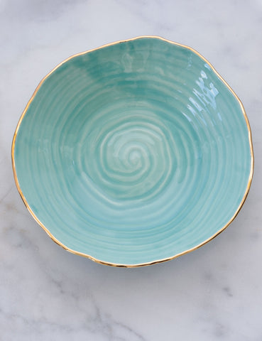 Hand-Built Serving Bowl in Mint Spiral with Gold Rim