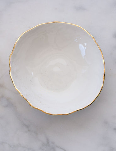 Hand-Built Serving Bowl in Dimpled White with Gold Rim and Gold Splatters