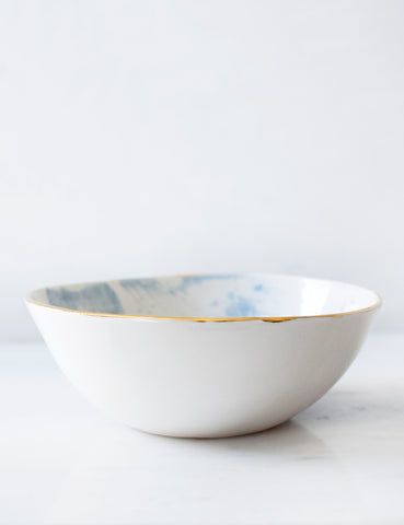 Dinner Bowl in White with Frost Brushstrokes and Gold Rim