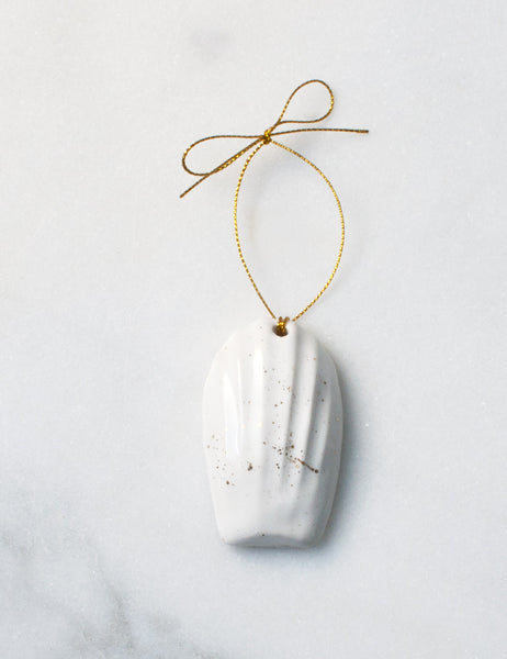 French Madeleine Ornament in White and Gold