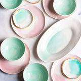 Oval Platter in White With Mint Watercolor