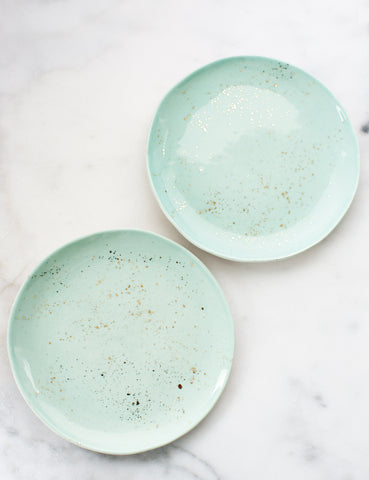 Pre-Order: Salad Plates in Mint and Gold Splatters (Set of Two)