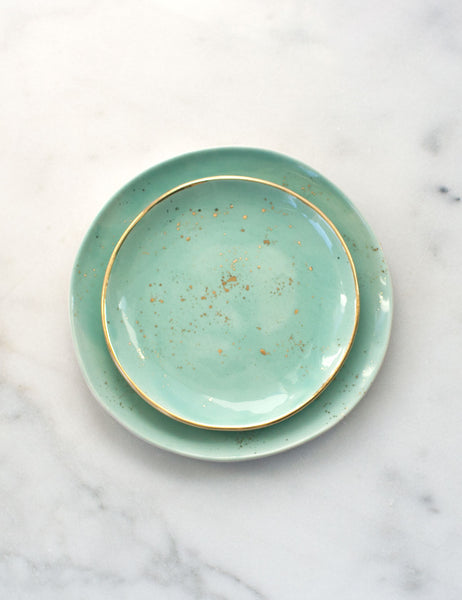Limited Edition: Dessert and Salad Plate Set in Mint and Gold (Set of Two)
