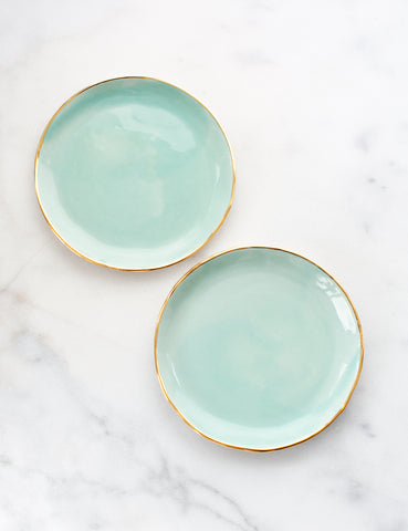Pre-Order: Dessert Plates in Mint with Gold Rim (Set of Two)