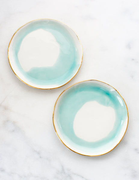 Limited Edition: Dessert Plates in Watercolor Mint Swirl with Gold Rim (Set of Two)