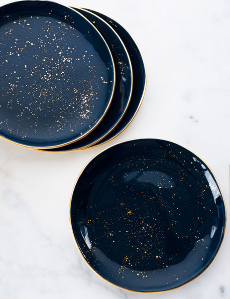 Made to Order: Dinner Plates in Navy with Gold Splatters and Gold Rim (Set of Four)