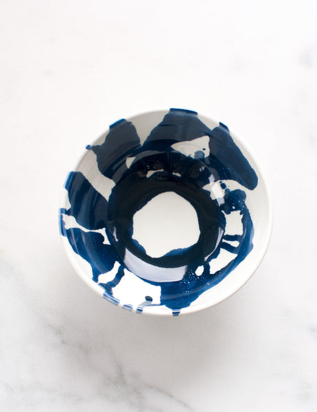 Thrown Porcelain Bowl in White and Navy Abstract