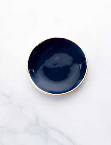 Ring Dish in Navy with Gold Rim