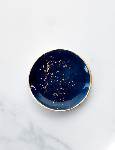 Made to Order: Ring Dish in Navy with Gold Splatters and Gold Rim