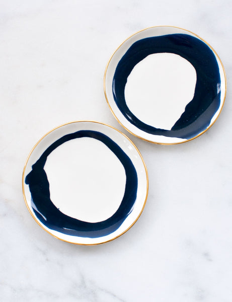 Made to Order: Dessert Plates in Watercolor Navy Swirl with Gold Rim (Set of Two)